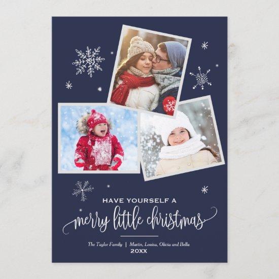 Navy Snowflake | 3 Photo Christmas Holiday Card