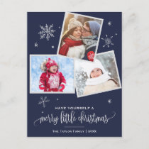 Navy Snowflake | 3 Photo Christmas Holiday Postcard