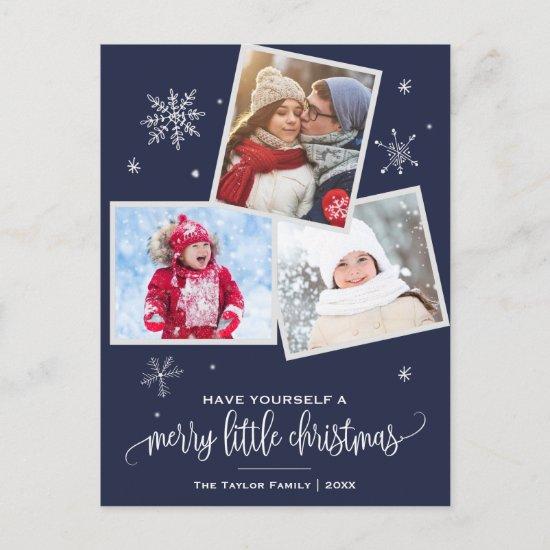 Navy Snowflake | 3 Photo Christmas Holiday Postcard