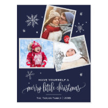 Navy Snowflake | 3 Photo Christmas Postcard