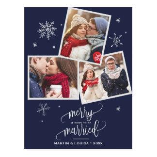 Navy Snowflake | 3 Photo Engagement Christmas Postcard