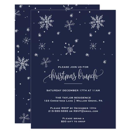 Navy Snowflake Christmas Brunch Invitation