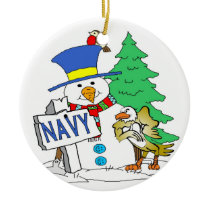 Navy Snowman Christmas Ceramic Ornament