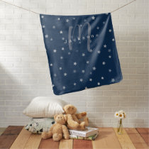 Navy star pattern personalized name and monogram baby blanket