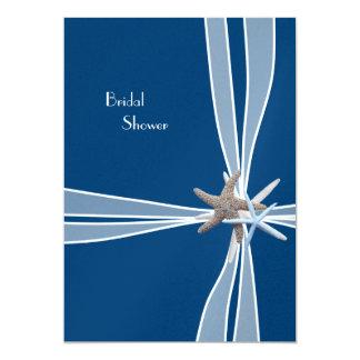 "Navy Starfish Beach Bridal Shower Invitation 5"" X 7"" Invitation Card"