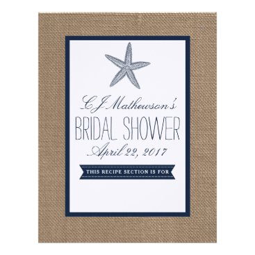 Beach Themed Navy Starfish Beach Bridal Shower Recipe Divider Letterhead