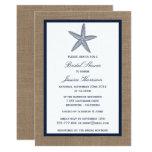 Navy Starfish Beach Burlap Bridal Shower Card