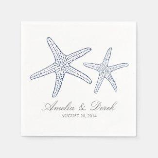 Navy Starfish Cocktail Napkins