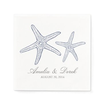 Beach Themed Navy Starfish Cocktail Napkins