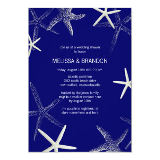 Navy Starfish Designer Wedding Shower Invitations