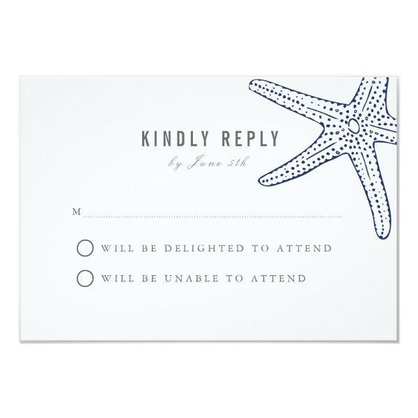 Navy Starfish Wedding Response Card