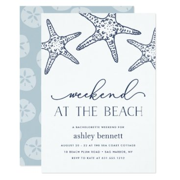 Beach Themed Navy Starfish | Weekend at the Beach Invitation
