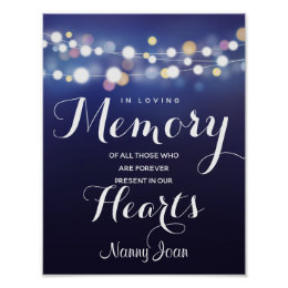 Navy String of lights In loving memory sign