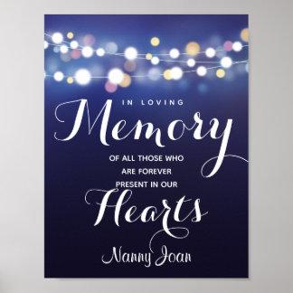 Navy String of lights In loving memory sign