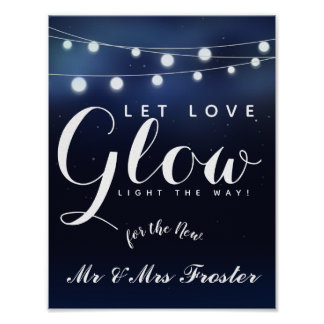 Navy String of lights Let love glow wedding party Poster