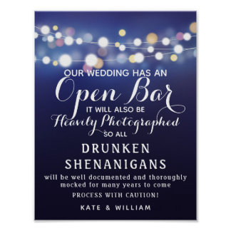 Navy String of lights Open Bar wedding sign