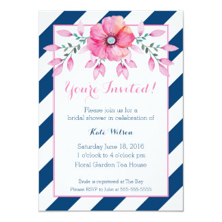 Navy Stripe and Pink Floral Invitation
