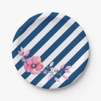 Navy Stripe and Pink Floral Paper Plate