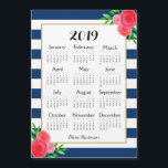 """Navy Stripe Floral Monogram Magnetic 2019 Calendar<br><div class=""""desc"""">This beautiful, classy design features blush coral red pink watercolor flowers against a high constrast background of navy blue and white stripes. In the center is a gold-edged white area that features a 2019 calendar with the months and year in popular typography. At the bottom of the calendar is a...</div>"""