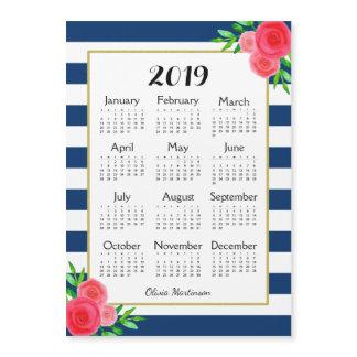 Navy Stripe Floral Monogram Magnetic 2019 Calendar