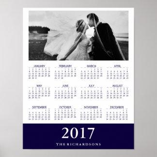 Navy Stripe | Modern Minimal 2017 Calendar Photo Poster