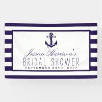 Navy Stripe Nautical Anchor Bridal Shower Banner
