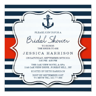 Navy Stripe Nautical Anchor Bridal Shower Card
