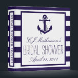"""Navy Stripe Nautical Anchor Bridal Shower Recipe 3 Ring Binder<br><div class=""""desc"""">This nautical navy stripe anchor beach bridal shower recipe card binder will be perfect for any bride-to-be! The design features a lovely nautical navy blue and white stripe background with a cute anchor motif. This binder can be personalized for your special occasion and would make the perfect binder for any...</div>"""