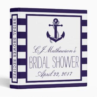 Navy Stripe Nautical Anchor Bridal Shower Recipe 3 Ring Binder