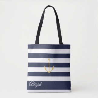 Navy Stripe Nautical Anchor Personalized Tote Bag