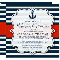 Navy Stripe Nautical Wedding Rehearsal Dinner Card
