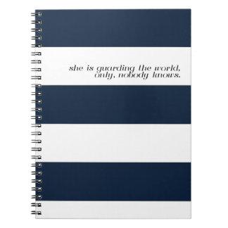 Navy Stripe Notebook - Allen Gurganus Quote