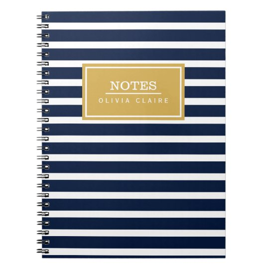 Navy Stripe Pattern Gold Name Template Notebook Zazzle Com
