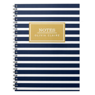 Navy Stripe Pattern Gold Name Template Spiral Notebook