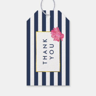 Navy Stripe & Pink Peony Bridal Shower Favor Tags