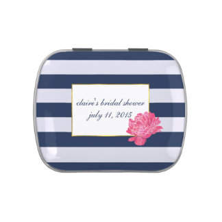 Navy Stripe & Pink Peony Bridal Shower Favor Tin Jelly Belly Tins