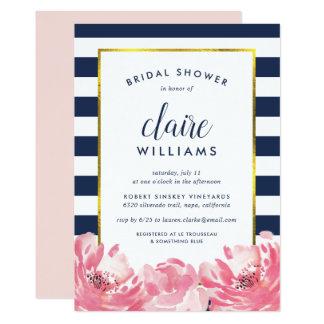 Navy Stripe & Pink Peony Bridal Shower Invitation