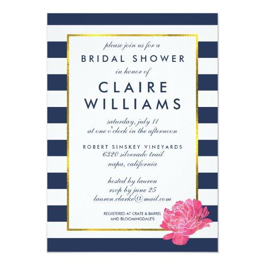 navy stripe pink peony bridal shower invitations