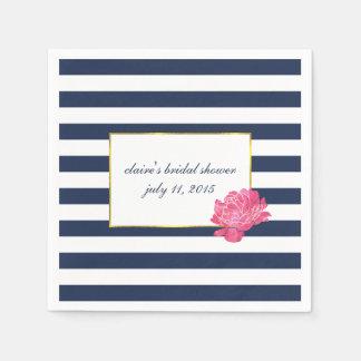 Navy Stripe & Pink Peony Bridal Shower Napkin