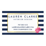 Navy Stripe & Pink Peony Business Cards