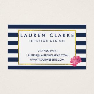 Navy Stripe & Pink Peony Business Cards