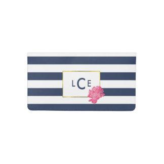 Navy Stripe & Pink Peony Checkbook Cover