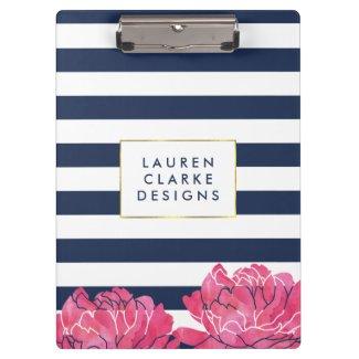 Navy Stripe & Pink Peony Clipboard