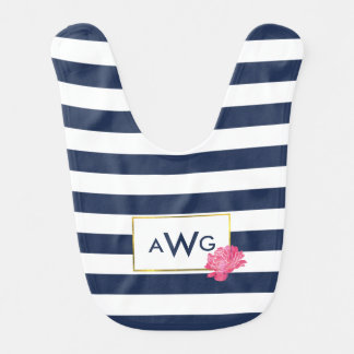 Navy Stripe & Pink Peony Monogram Baby Bib