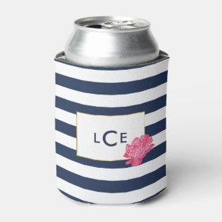 Navy Stripe & Pink Peony Monogram Can Cooler