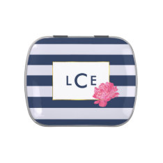 Navy Stripe & Pink Peony Monogram Candy Tin at Zazzle