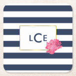 """Navy Stripe &amp; Pink Peony Monogram Coasters<br><div class=""""desc"""">These paper coasters feature a bold navy blue and white stripe background,  faux gold border,  and a pretty pink peony in soft watercolors. Coordinates with our Navy Stripe &amp; Pink Peony office supplies,  paper products,  and accessories. Customize with a monogram,  name or text of your choice!</div>"""