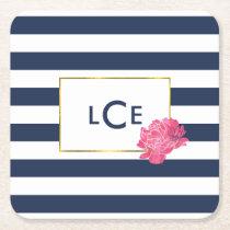 Navy Stripe & Pink Peony Monogram Coasters