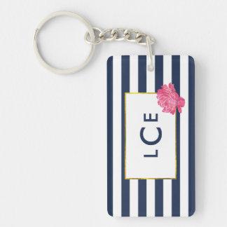 Navy Stripe & Pink Peony Monogram Keychain