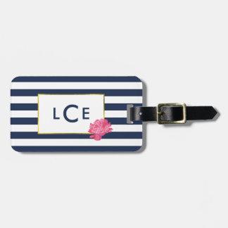 Navy Stripe & Pink Peony Monogram Luggage Tag